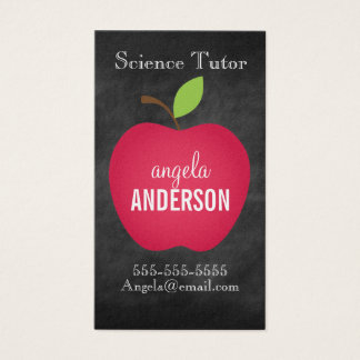 Classic Red Apple Chalkboard Teacher Business Card
