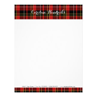 Classic Red Black Yellow White Tartan Pattern Letterhead