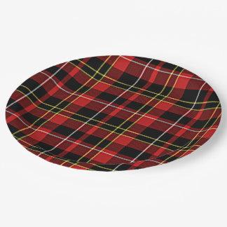 Classic Red Black Yellow White Tartan Stripes Paper Plate