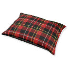 Classic Red Black Yellow White Tartan Stripes Pet Bed