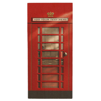 Classic Red British Phone Booth Wood USB Flash Drive