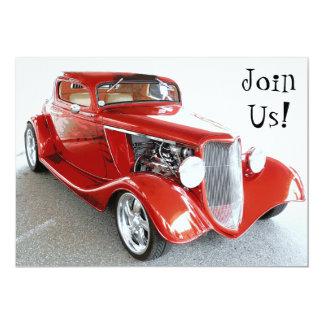 """Classic Red Car Retirement Party Invite 5"""" X 7"""" Invitation Card"""