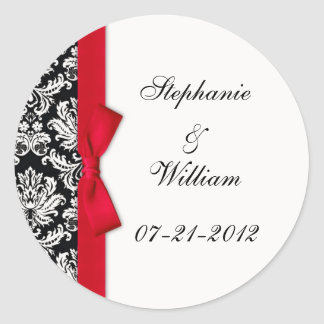 Classic Red Damask Wedding Label