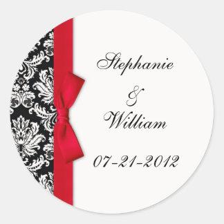 Classic Red Damask Wedding Label Round Sticker