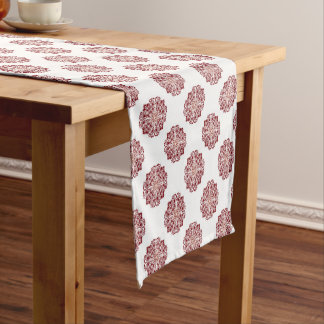 Classic red floral damask medallion short table runner