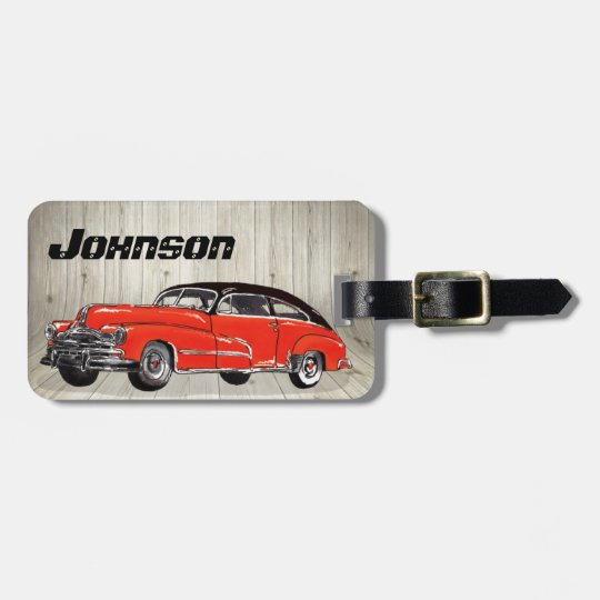 Classic Red Muscle Car - Unique Automotive Luggage Tag