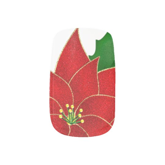 Classic Red Poinsettia Fingernail Decals