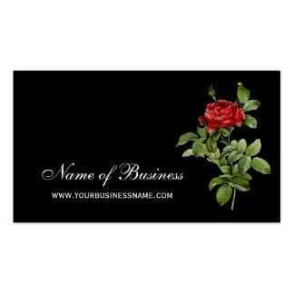 Classic Red Rose Elegant Red and Black Floral Business Card