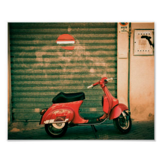 Classic red scooter in Italy Poster