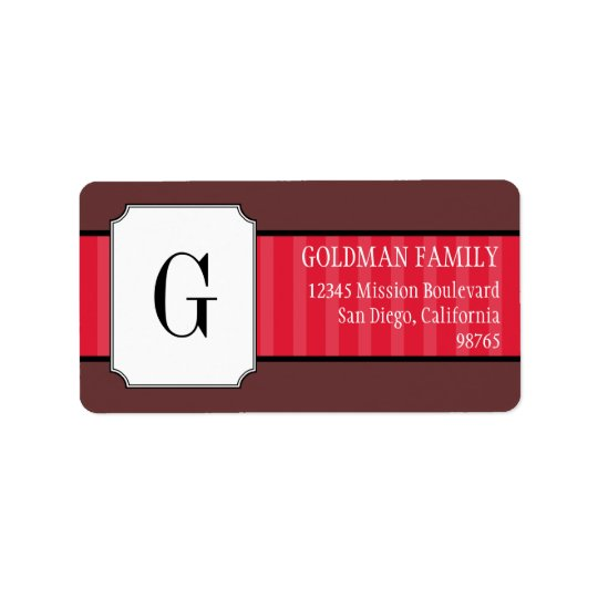Classic red stripes monogram return address label