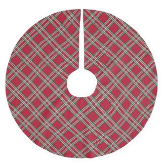 Classic Red Tartan Christmas Plaid Tree Skirt Brushed Polyester Tree Skirt