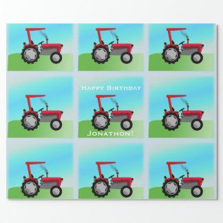 "Classic Red Tractor ""Happy Birthday, Name"" Wrapping Paper"