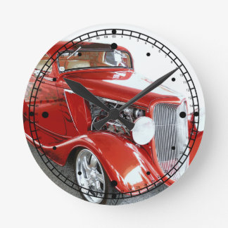 Classic Red Vintage Car on Show Wallclocks