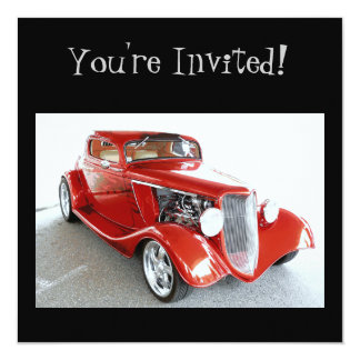 """Classic Red Vintage Car -  You're Invited! 5.25"""" Square Invitation Card"""