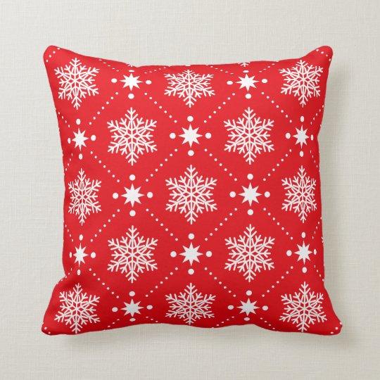 Classic Red White Snowflakes Christmas Pattern Throw Pillow