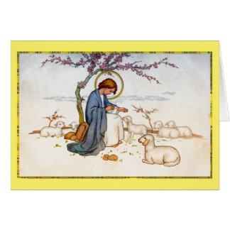 Classic religious Jesus with Lambs Easter Wishes Greeting Card