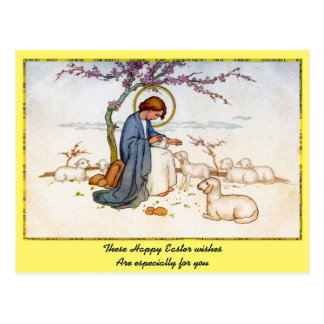 Classic religious Jesus with Lambs Easter Wishes Postcards