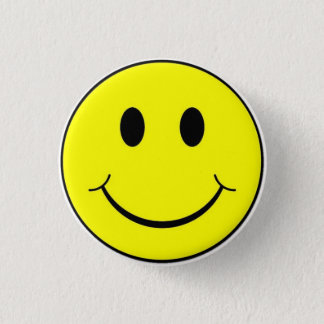 Classic Retro 70's Yellow Happy Smiley Face Button