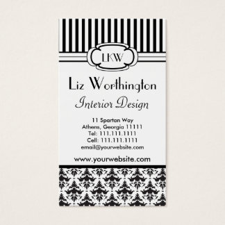 Classic Retro Black and White Paris Style Business Card