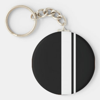 Classic Retro Black & White Race Car Stripes Keychain