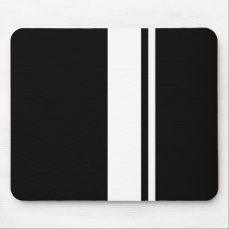 Classic Retro Black & White Race Car Stripes Mouse Pad