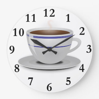 Classic Retro Cafe Coffee Cup White Blue Stripes Large Clock
