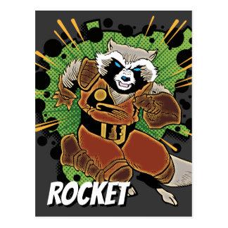 Classic Rocket Raccoon Running Graphic Postcard