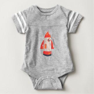 Classic Rocket Spaceship With Satellite Dish On Baby Bodysuit