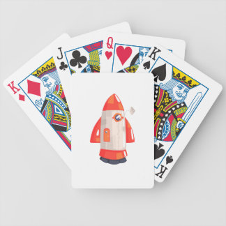 Classic Rocket Spaceship With Satellite Dish On Bicycle Playing Cards