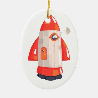 Classic Rocket Spaceship With Satellite Dish On Ceramic Ornament