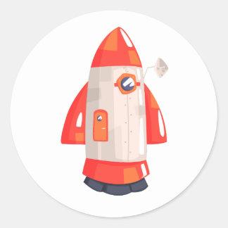 Classic Rocket Spaceship With Satellite Dish On Classic Round Sticker