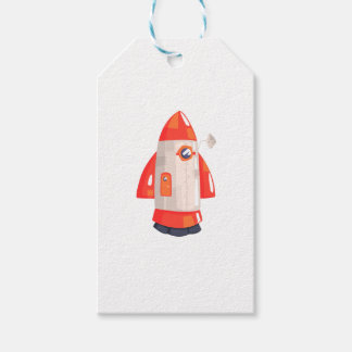 Classic Rocket Spaceship With Satellite Dish On Gift Tags