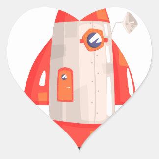 Classic Rocket Spaceship With Satellite Dish On Heart Sticker