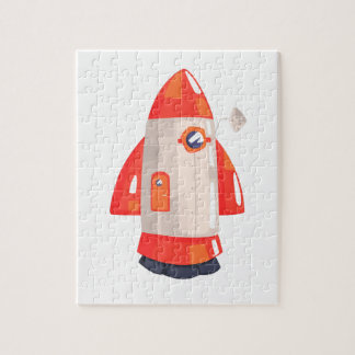 Classic Rocket Spaceship With Satellite Dish On Jigsaw Puzzle
