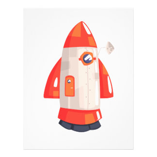 Classic Rocket Spaceship With Satellite Dish On Letterhead