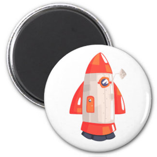 Classic Rocket Spaceship With Satellite Dish On Magnet