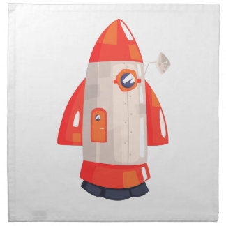 Classic Rocket Spaceship With Satellite Dish On Napkin