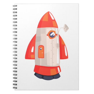 Classic Rocket Spaceship With Satellite Dish On Notebook