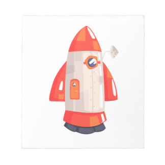 Classic Rocket Spaceship With Satellite Dish On Notepad