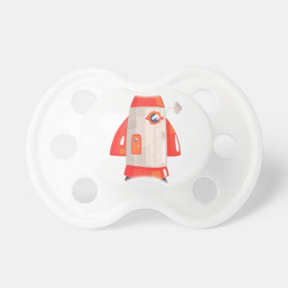 Classic Rocket Spaceship With Satellite Dish On Pacifier