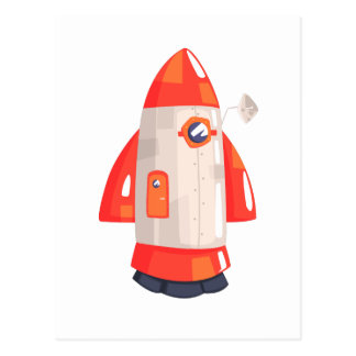 Classic Rocket Spaceship With Satellite Dish On Postcard