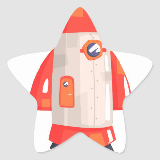 Classic Rocket Spaceship With Satellite Dish On Star Sticker