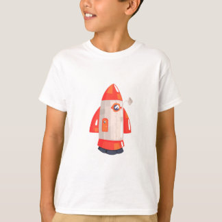 Classic Rocket Spaceship With Satellite Dish On T-Shirt