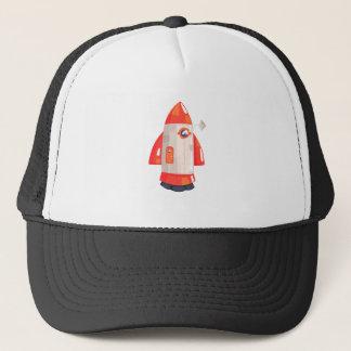 Classic Rocket Spaceship With Satellite Dish On Trucker Hat