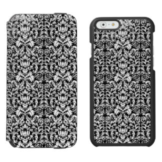 Classic ROcoco Gothic Black Damask Noir Incipio Watson™ iPhone 6 Wallet Case