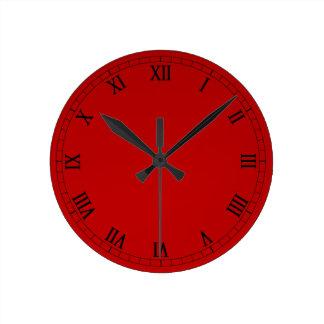 Classic Roman Numerals On Red Gradient Round Clock