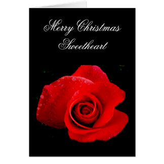 Classic Romantic red Rose Christmas Card