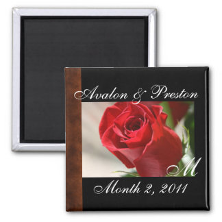 Classic Rose Monogram Save The Date Magnet