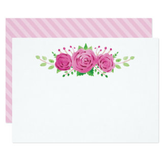 Classic Rosiness Blank Wedding Note Card