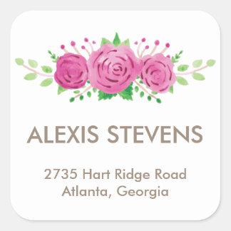 Classic Rosiness Square Address Label Square Sticker